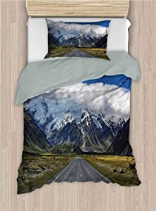 alisoso Mountain Duvet Cover Set South West Natural Wonder Queen 88x88 Inch Decorative 2 Piece Bedding Set with 1 Pillow Sham