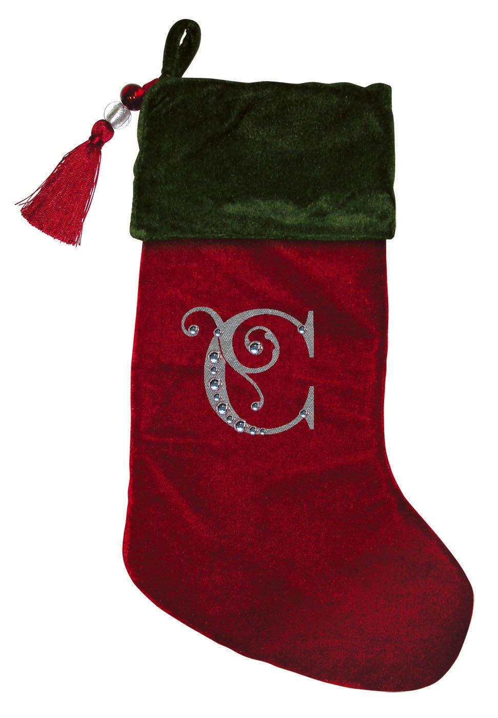 Christmas Stocking Red & Green Velvet With Tassel, Rhinestone Monogram E Evergreen