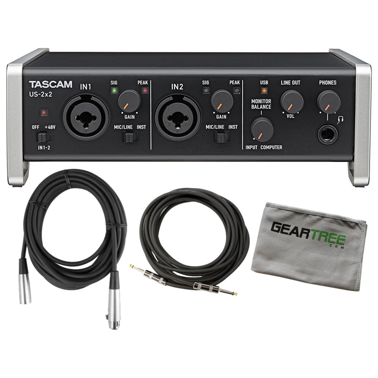 Tascam US 2x2 usb 2.0 2 IN 2 OUT Audio/MIDI Interface w/Cleaning Cloth and 2 Ca by Tascam (Image #1)