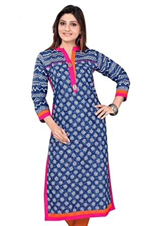 a545c6fd6322e5 Cotton Tunic Top Womens Printed Kurti Comfortable Blouse From India at  Amazon Women s Clothing store