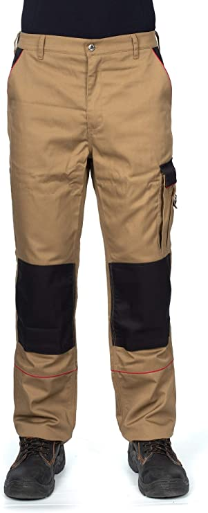 Imagen deDINOZAVR Pantalones de Trabajo Estilo Cargo para Hombre - Resistentes, con Bolsillos multifuncionales y Rodilleras y Franjas Reflectantes