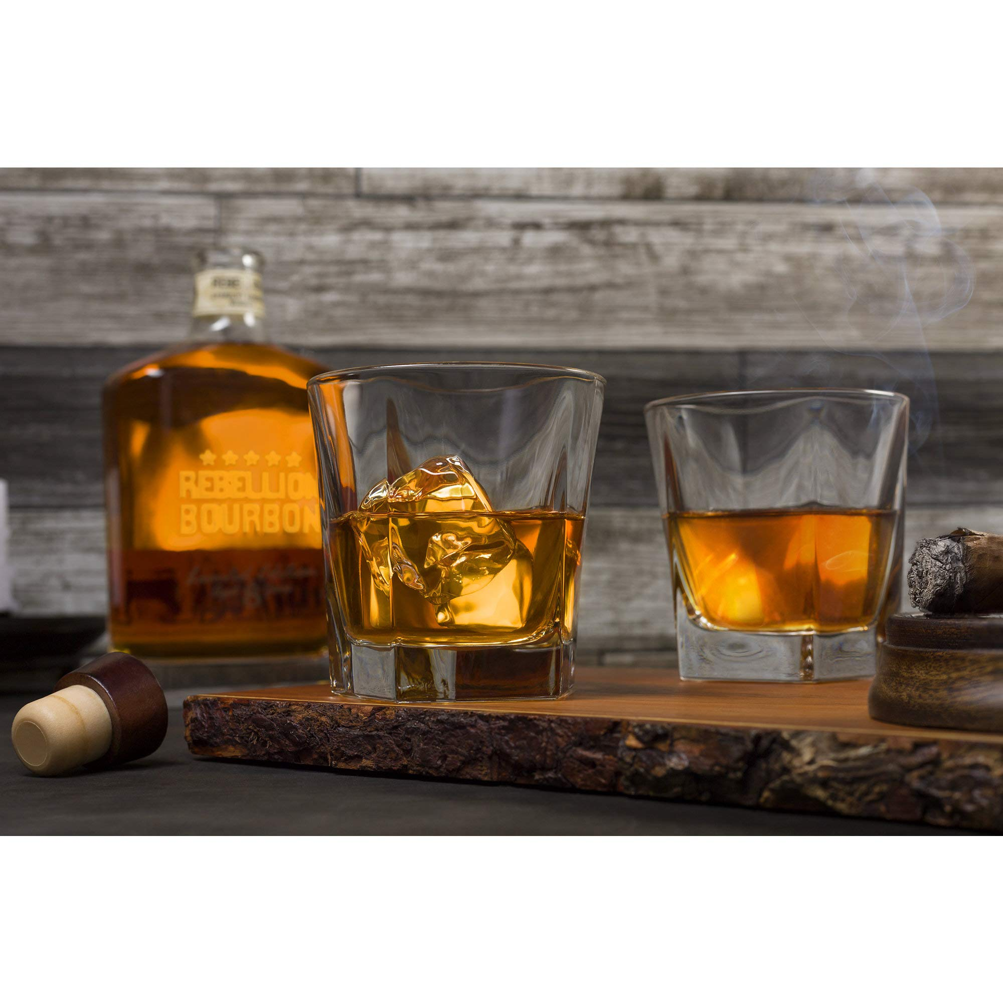 Whiskey Glasses, Set Of 2 – By Liquor Sip. Elegant Design- Large 12 oz Lead-free Tumblers- best glass cups for scotch or bourbon -10 Bonus Refreshing Cocktail Recipes enclosed in a stylish gift box by Liquor Sip (Image #2)