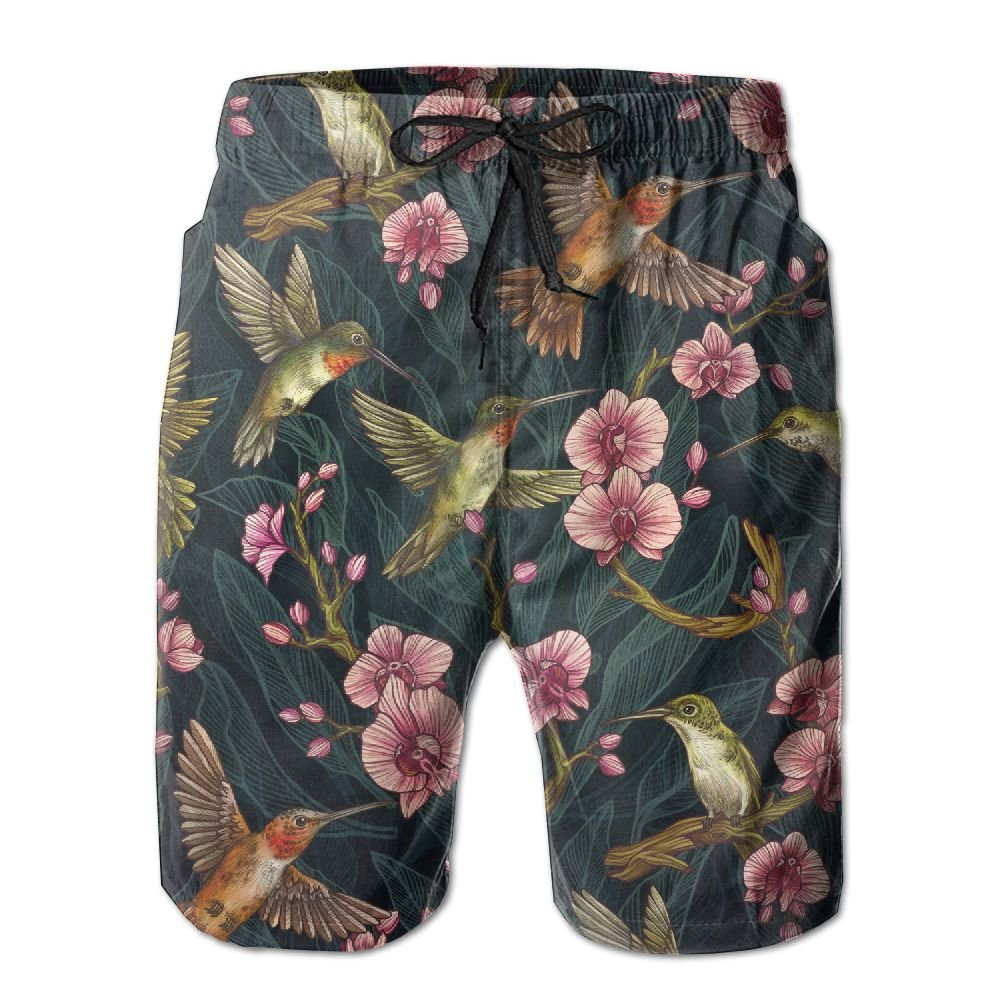 Tropical Bird Mens Beach Board Shorts Quick Dry Swim Trunks