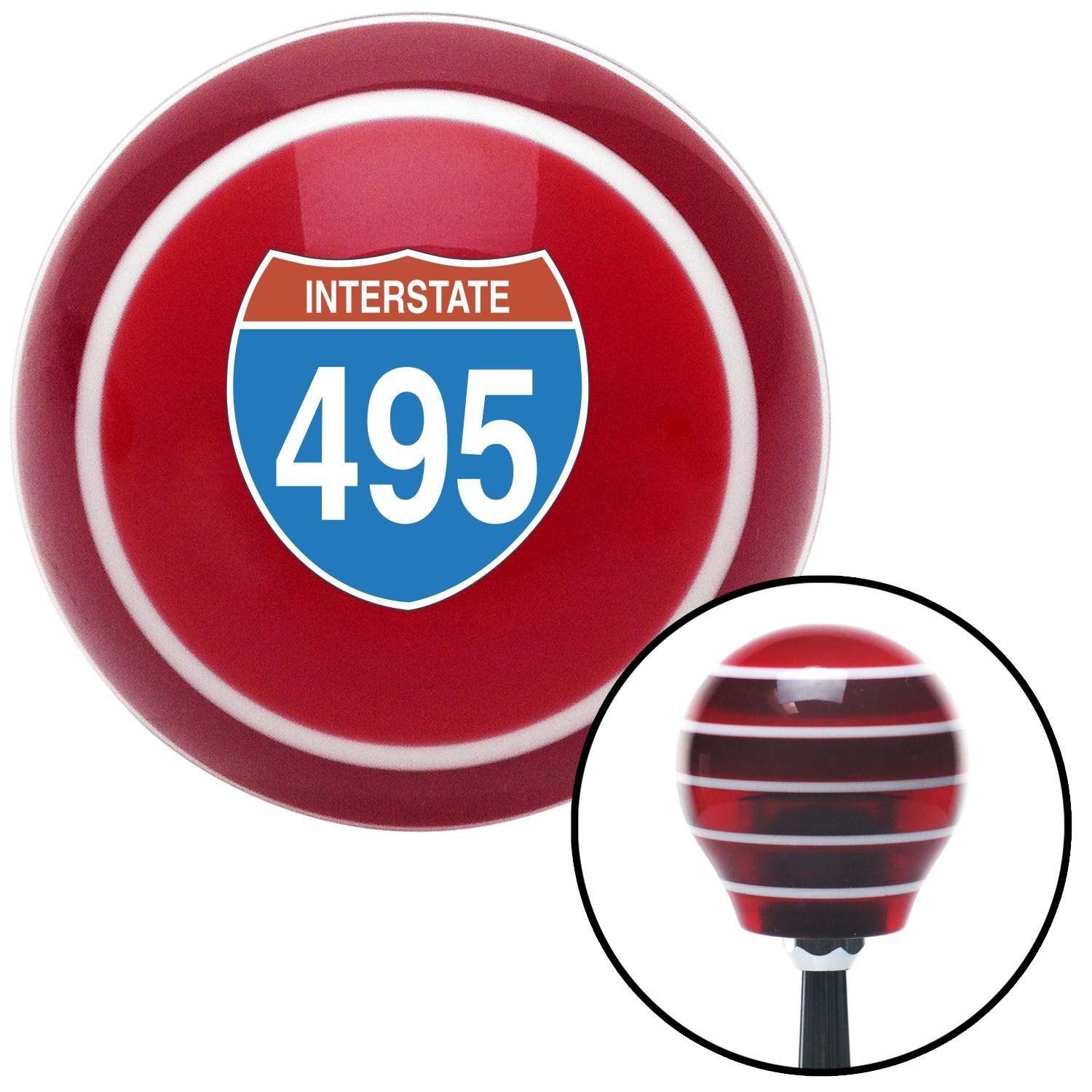 American Shifter 119332 Red Stripe Shift Knob with M16 x 1.5 Insert Interstate 495
