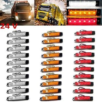 Polarlander 30pcs 24v 6led Seitenmarkierungs Anzeigen Lichter Lampe Fur Auto Lkw Anhanger Lkw 6 Led Bernstein Raumungs Bus Wasserdichtes Rot Gelb Weiss Amazon De Auto