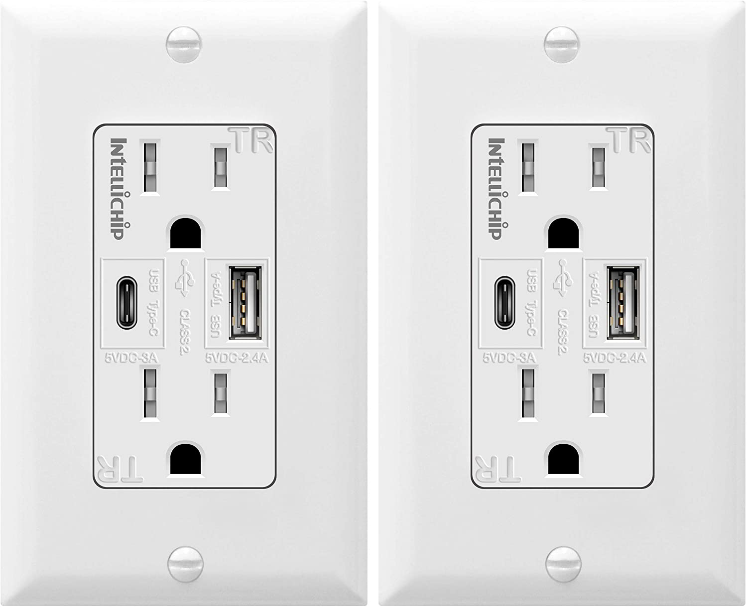 TOPGREENER 5.8A Ultra High Speed USB Type-C/A Combo Outlet, 15A Tamper-Resistant Receptacle, Compatible with iPhone SE/11/XS/XR/X/8, Samsung Galaxy S20/S10/S9/Note &More, TU21558AC-2PCS, White, 2 Pack