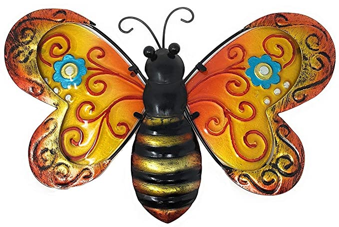 Metal Wall Art Decor Nature Inspired Flower Garden Bug Sculptures for Indoor Outdoor (Bee)