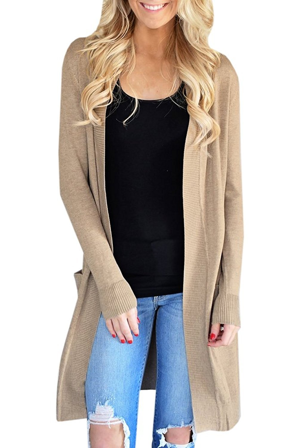 Sherrylily Womens Open Front Long Cardigans Long Sleeve Solid Color Pocket Sweater Coats Khaki X-Large