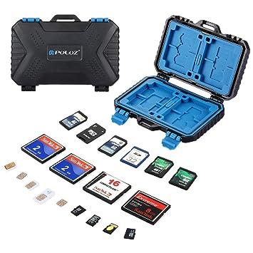CaLeSi - Funda para tarjeta SD CF TF XQD, 9 ranuras, mini portatil resistente al agua, tarjetas de memoria, soporte para almacenamiento, funda de ...