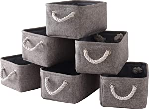 TcaFmac Gray Storage Baskets Set[6 Pack]Small Fabric Storage Bins with Handles,Grey Baskets for Organizing,Baskets for Gifts Empty,Decorative Baskets for Home Decor,Dog Toy Baskets-12x8x5inches(Grey)