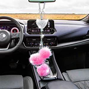 Bling Pink Car Mirror Accessories for Women and Man,Cute Car Decor for Women,Lucky Crystal Sun Catcher Ornament,Rearview Mirror Hanging Accessories Heart-Shaped Diamond Charm Decoration