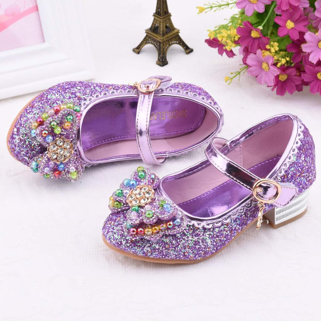 Children Infant Kids Baby Girls Bowknot Bling Sequins Single Princess Elastic Band Shoes