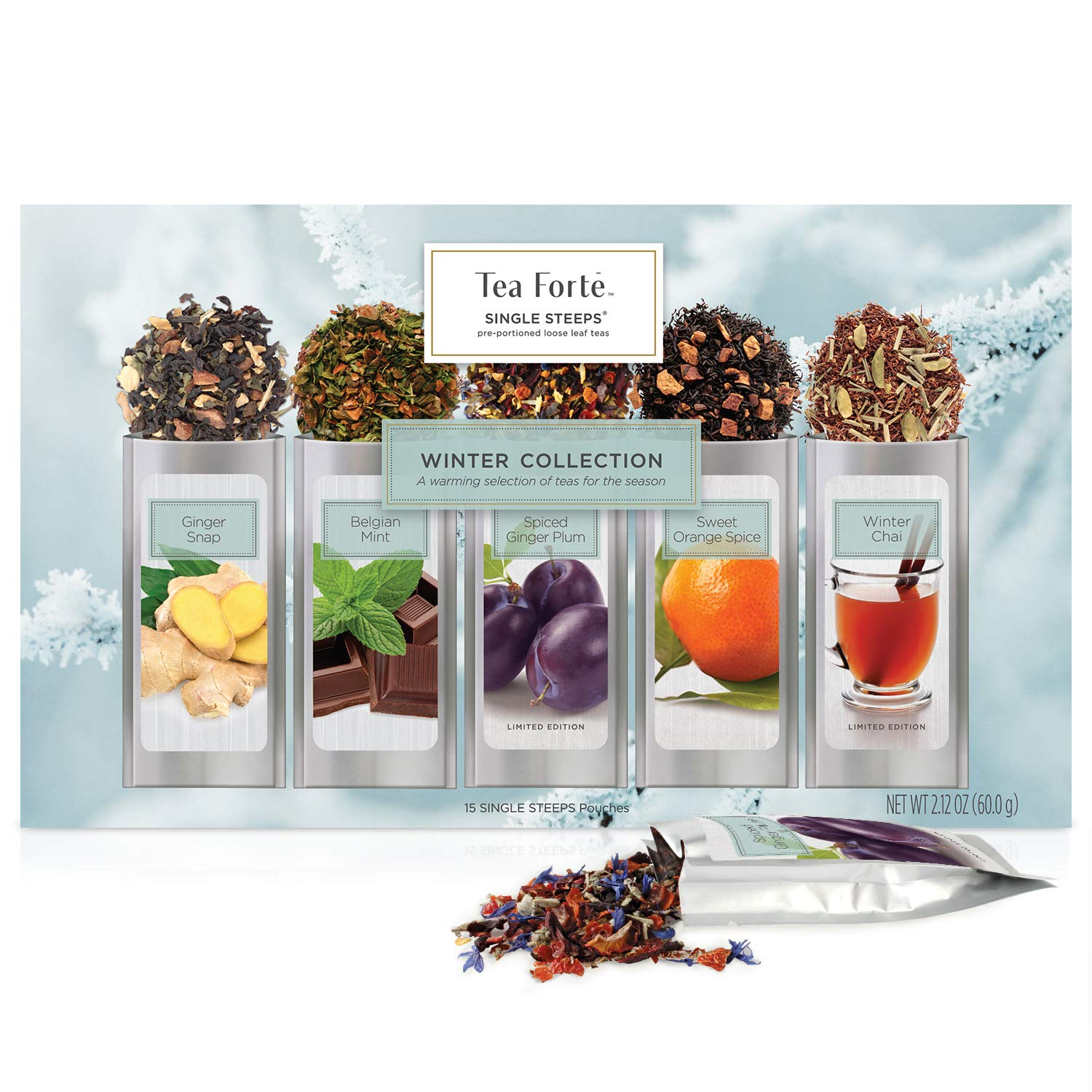 Tea Forte Single Steeps Winter Collection - Awarming selection of Teas for the season - Limited Edition - 15 Single Steeps Pouches