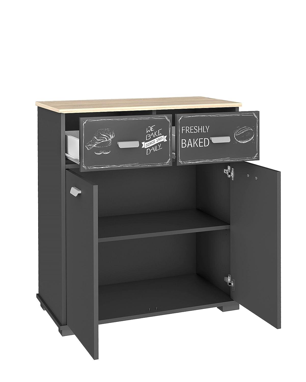 Buffet bajo de cocina de 2 puertas y 2 cajones gris grafito. 90 cm