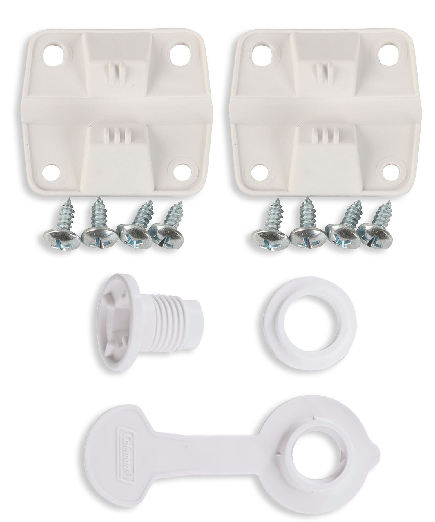 Coleman Ice Chest Cooler Replacement Plastic Hinges and Screws Set & Standard Drain Plug Assembly - 1'' Shaft Length Combo/Bundle (in Package by Main Event USA)