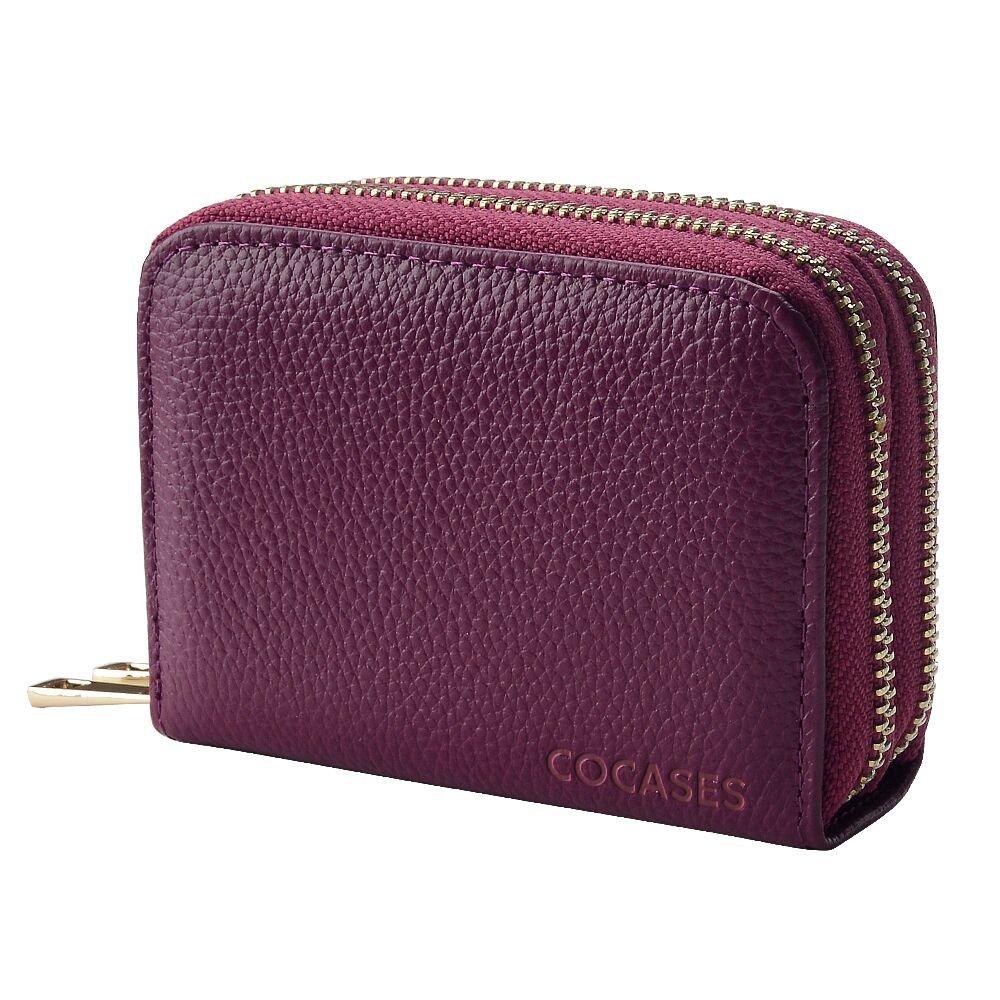 COCASES Damen Kreditkartenetui aus echtem Leder Kartenfach mit RFID Schutz Braun