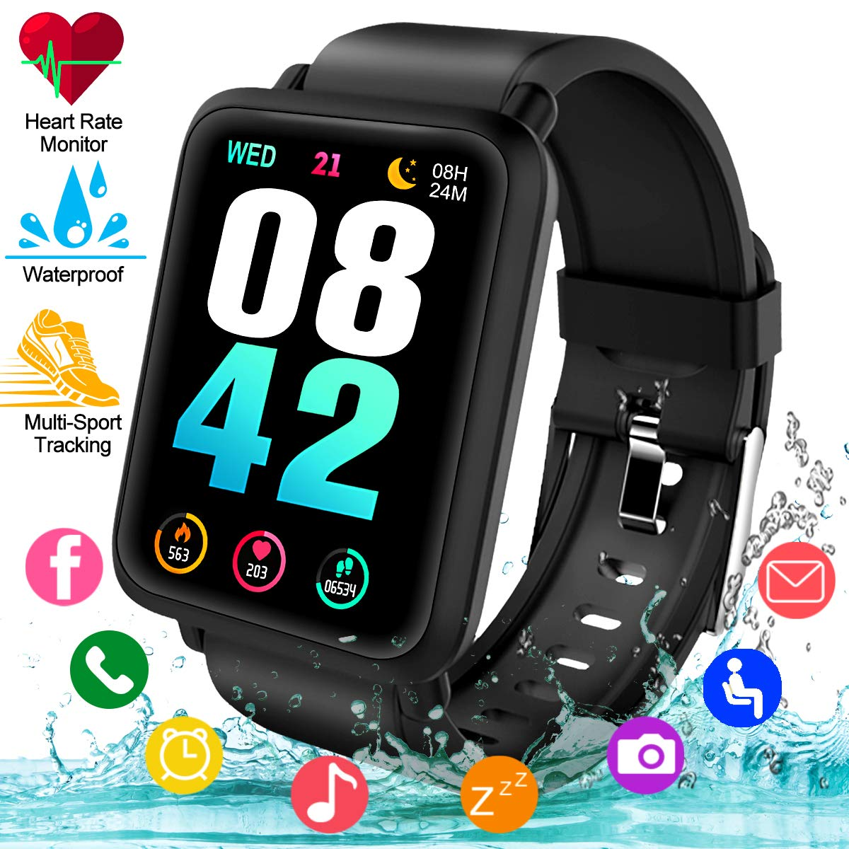Smart Watch, Waterproof Smartwatch for Android Phones, Sport Fitness Watch with Heart Rate Sleep Monitor Activity Fitness Tracker Watch with Pedometer ...