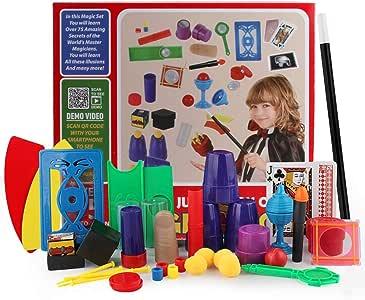 KUNEN Principiante Juego de Magia con Mago Varita ,Caja Magia 100 Trucos, Juego de Mesa Kit mágico: Amazon.es: Juguetes y juegos