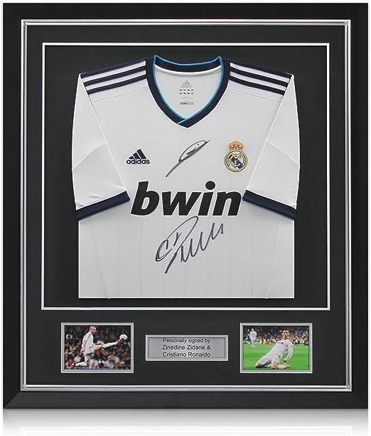 Deluxe enmarcada Cristiano Ronaldo y Zinedine Zidane Firmado Real ...