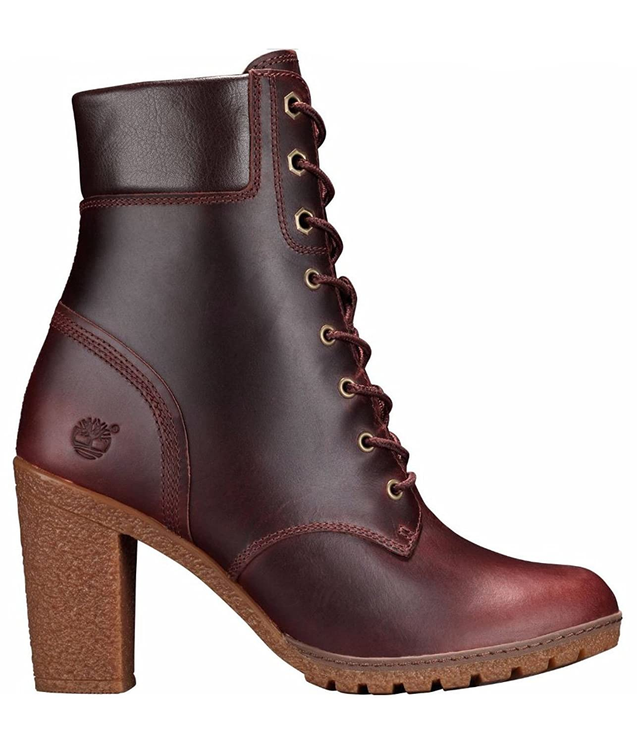 "(Factory Second) Timberland Women's 6"" Glancy Dark Brown Smooth Leather 3"" Heel Boots"
