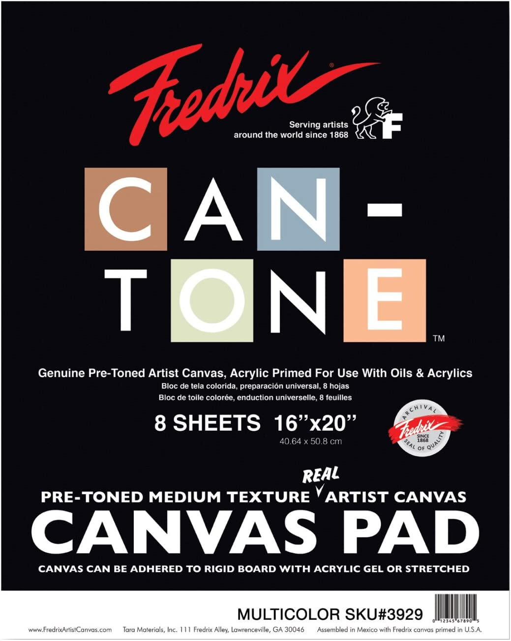 16 x 20 Inches 8 Sheets Multicolor Fredrix Can-Tone Canvas Pads