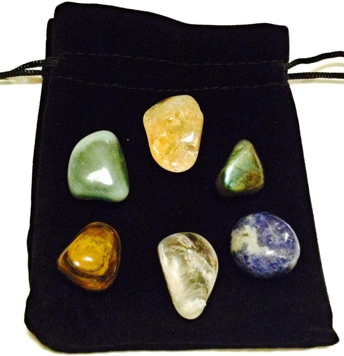 Paquete de 6 guijarros que atraen el dinero, incluye piedras de citrino, labradorita, cuarzo transparente, ojo de tigre, sodalita y aventurina verde