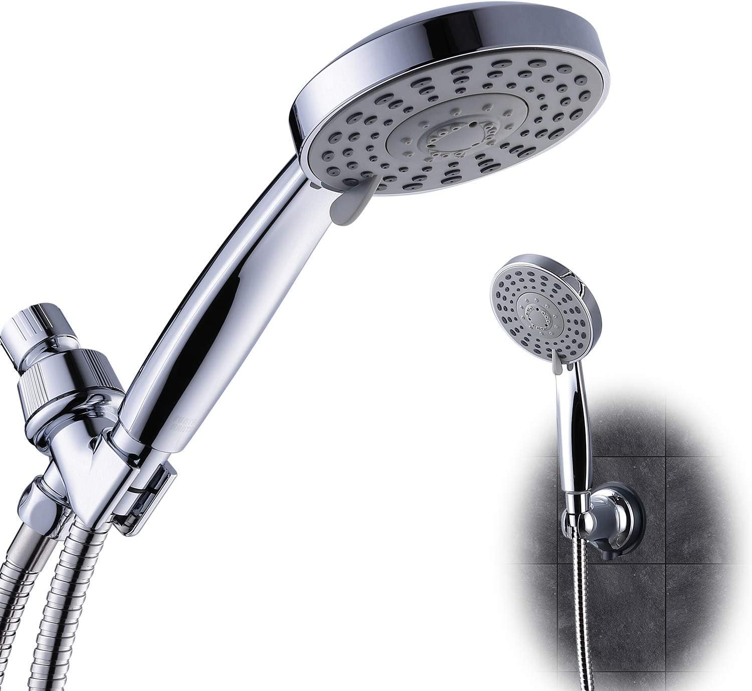 High Pressure Multi Function Handheld Shower Head Powerful Rainfall 5 Sprays Settings Showerhead With Stainless Hose And Bracket With Extra Suction Holder Funtaphanta For A Better Shower Experience Amazon Com
