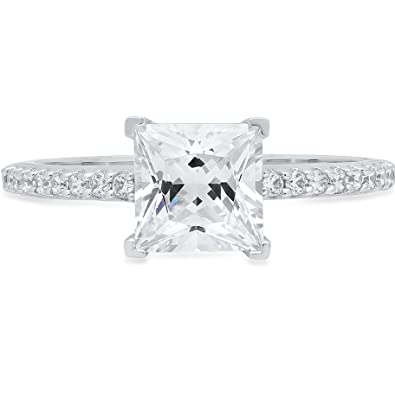 1.86ct Princess Cut Engagement Wedding Promise Solitaire Ring 14k White Gold