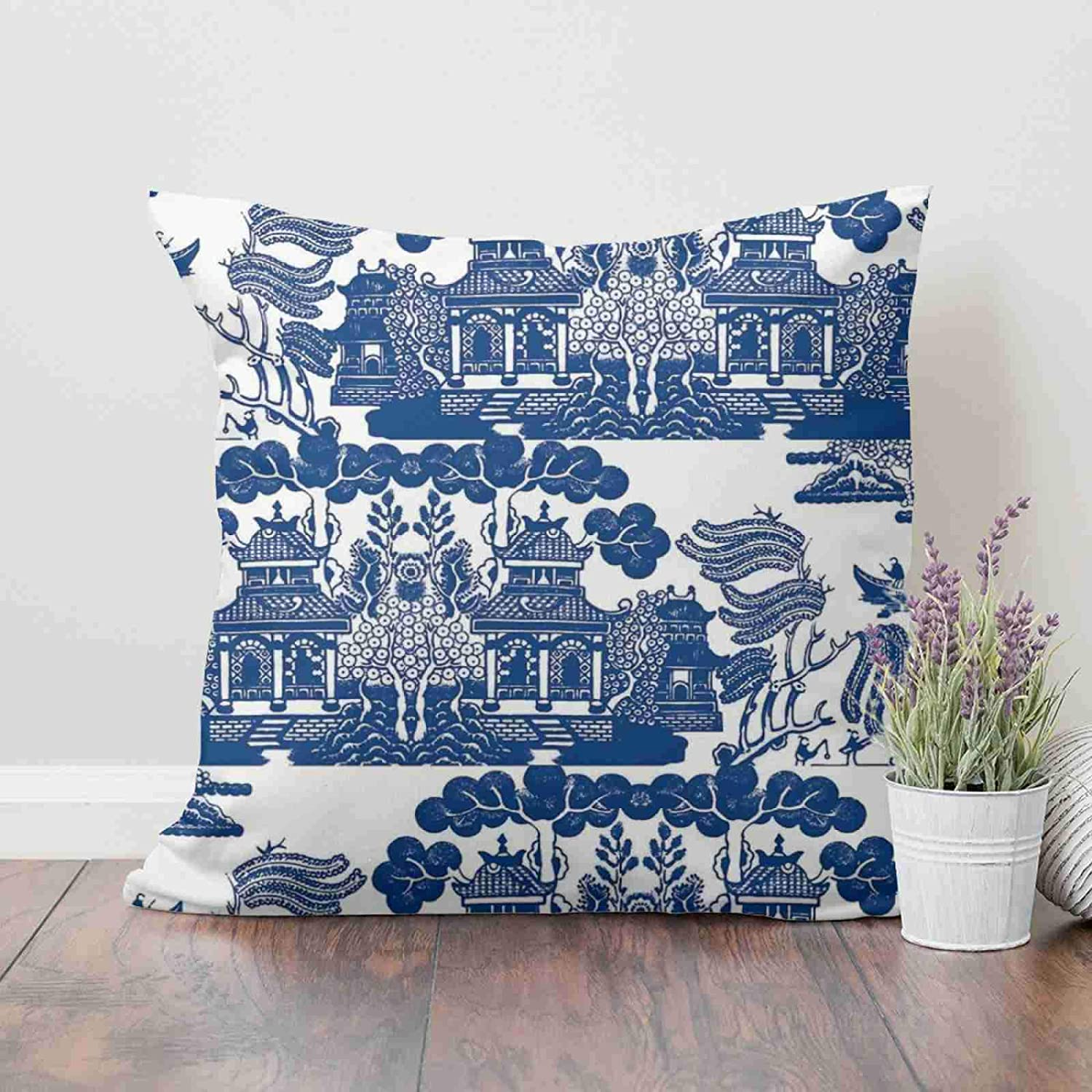 Blue And White Willow Pattern Vintage Pillow Chinoiserie Square Cushion Covers Pagoda Style Pillow Covers 100/% Faux Suede Cushion Cover