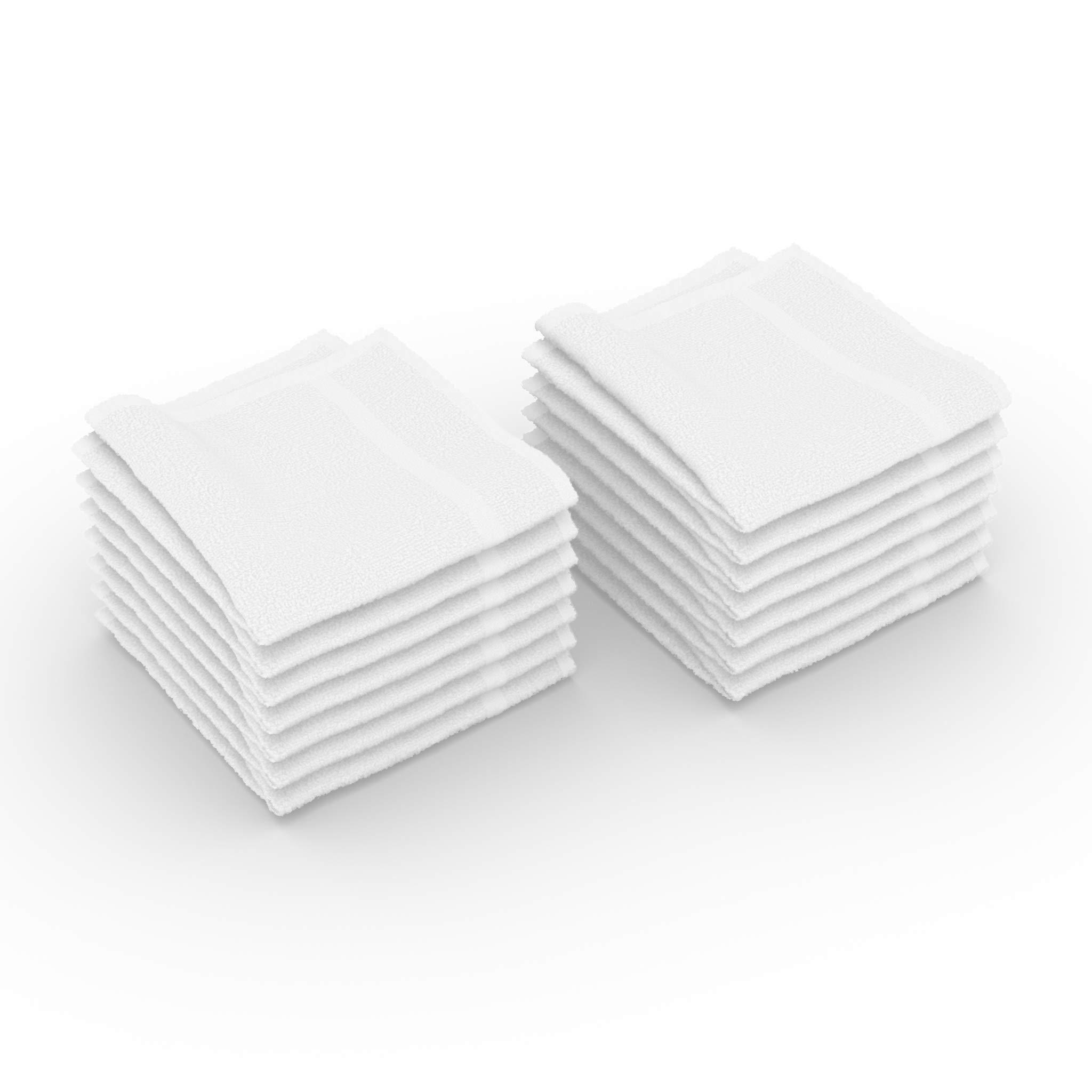 Jmr Premium White Cotton Washcloths 12x12 Soft Absorbent Face Towels,Bath,Spa,Gym Use (24 Pack)