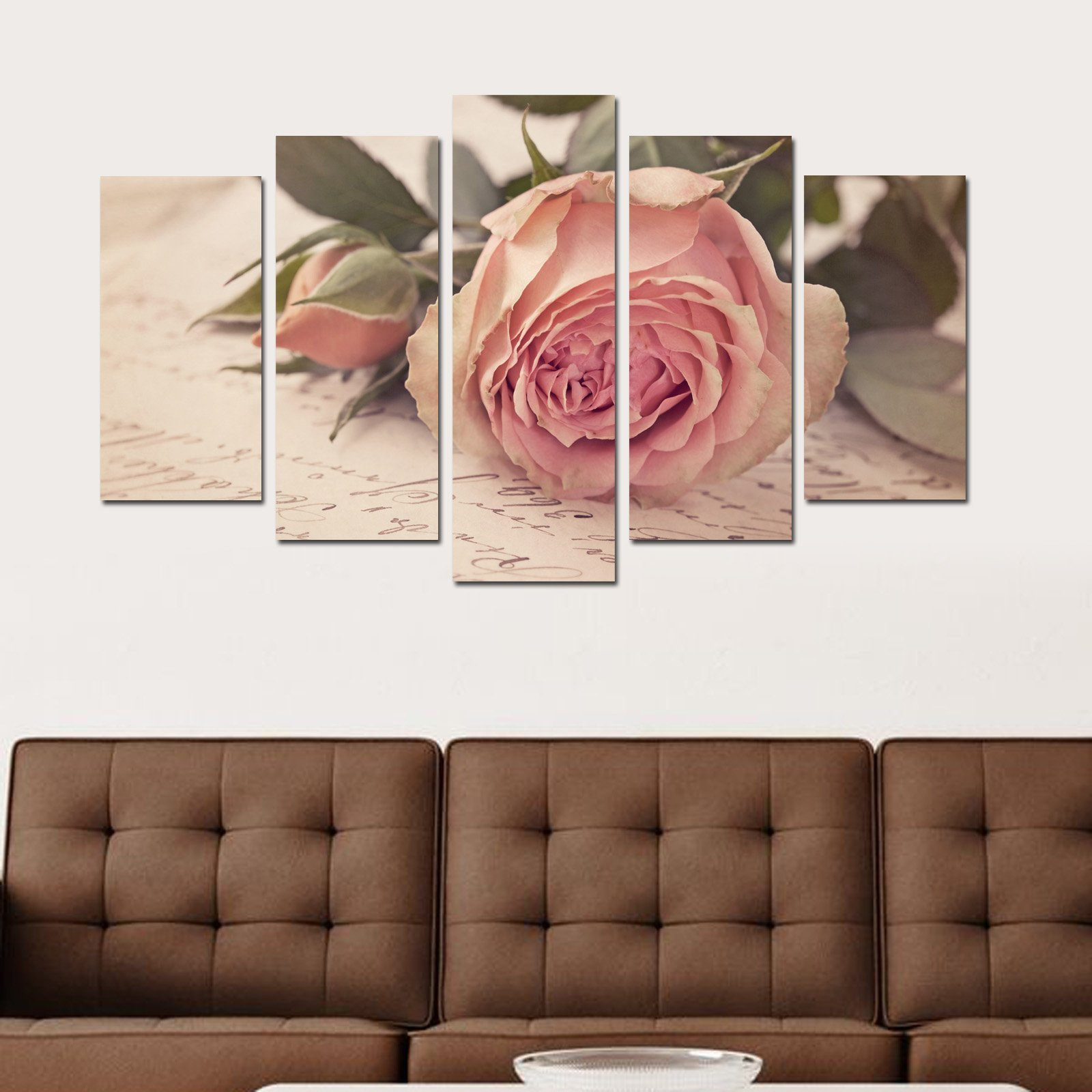 Decorative 100% MDF Wall Art 5 Panels (43'' x 24'' Total) Ready to Hang Painting Rose Pink Letter Love Writing Word Leaf Bud Herb