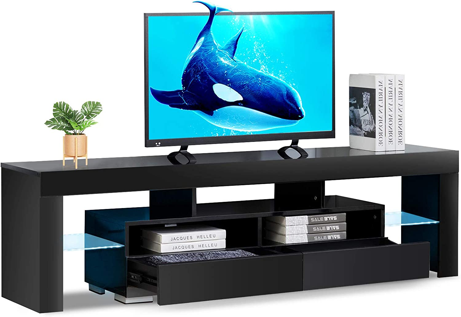 Bonzy Home Glossy LED TV Stand, Black TV Stand with LED RGB Lights, Wood Media Storage Console for 65 Inch TV, Flat Screen TV Cabinet, Gaming Consoles - in Lounge Room, Living Room and Bedroom (Black)