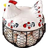 Arcwares Chicken Egg Storage Skelter Baskets for Fresh Eggs,Black Metal Mesh Wire Ceramic Egg Holder Countertop(Earthy Yellow