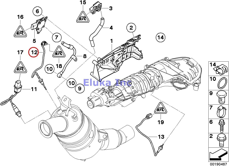 Amazon.com: BMW Genuine Diesel filter sensor/mounting Exhaust Temperature  Sensor X5 3.5d X5 35dX 335d: Automotive