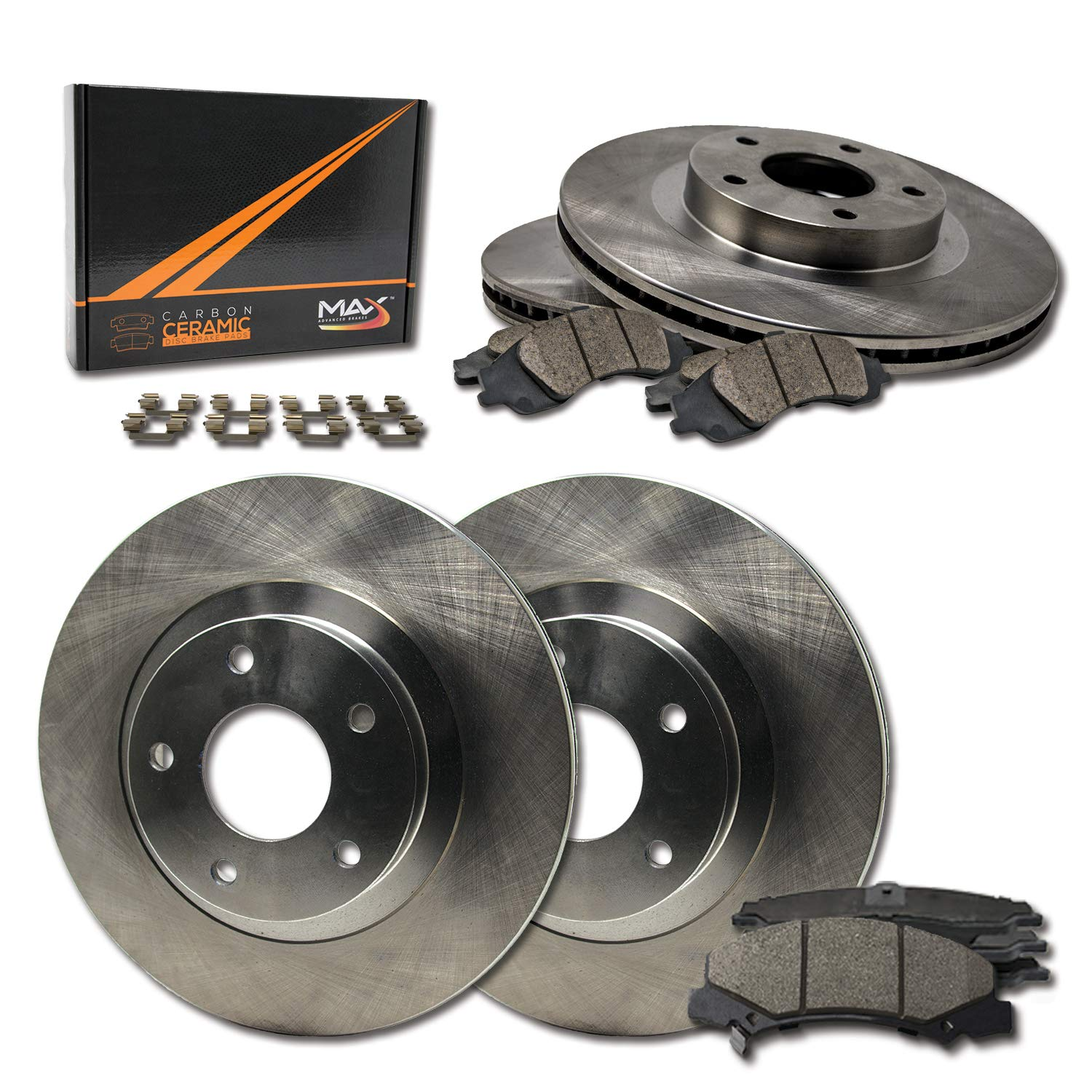 OE Replacement Brake Rotors with Ceramic Pads /& Hardware Kit FRONT+REAR
