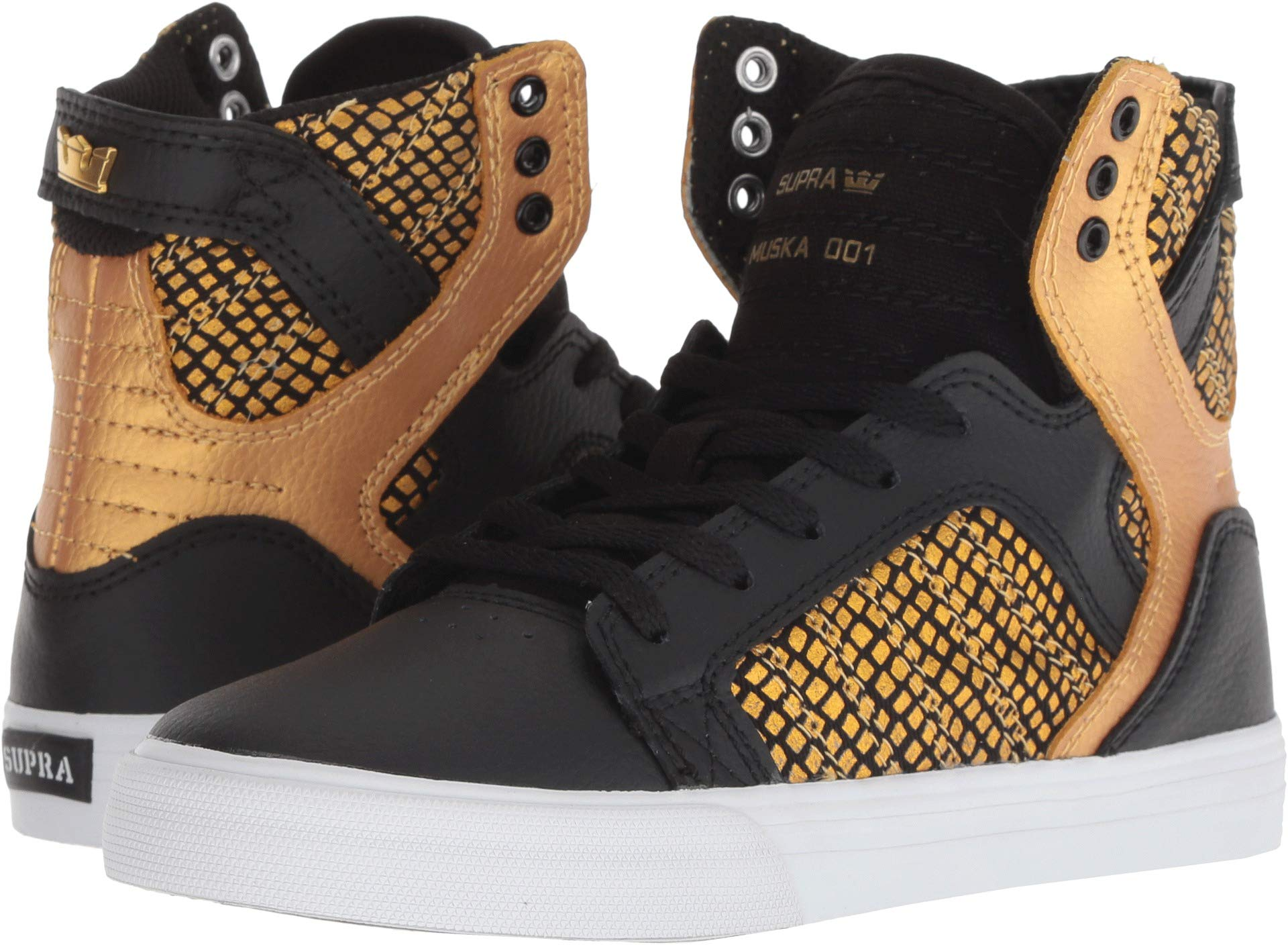 6d6c09d54ea Galleon - Supra Kids Boy's Skytop (Little Kid/Big Kid) Black/Gold/Black/ White 3 M US Little Kid