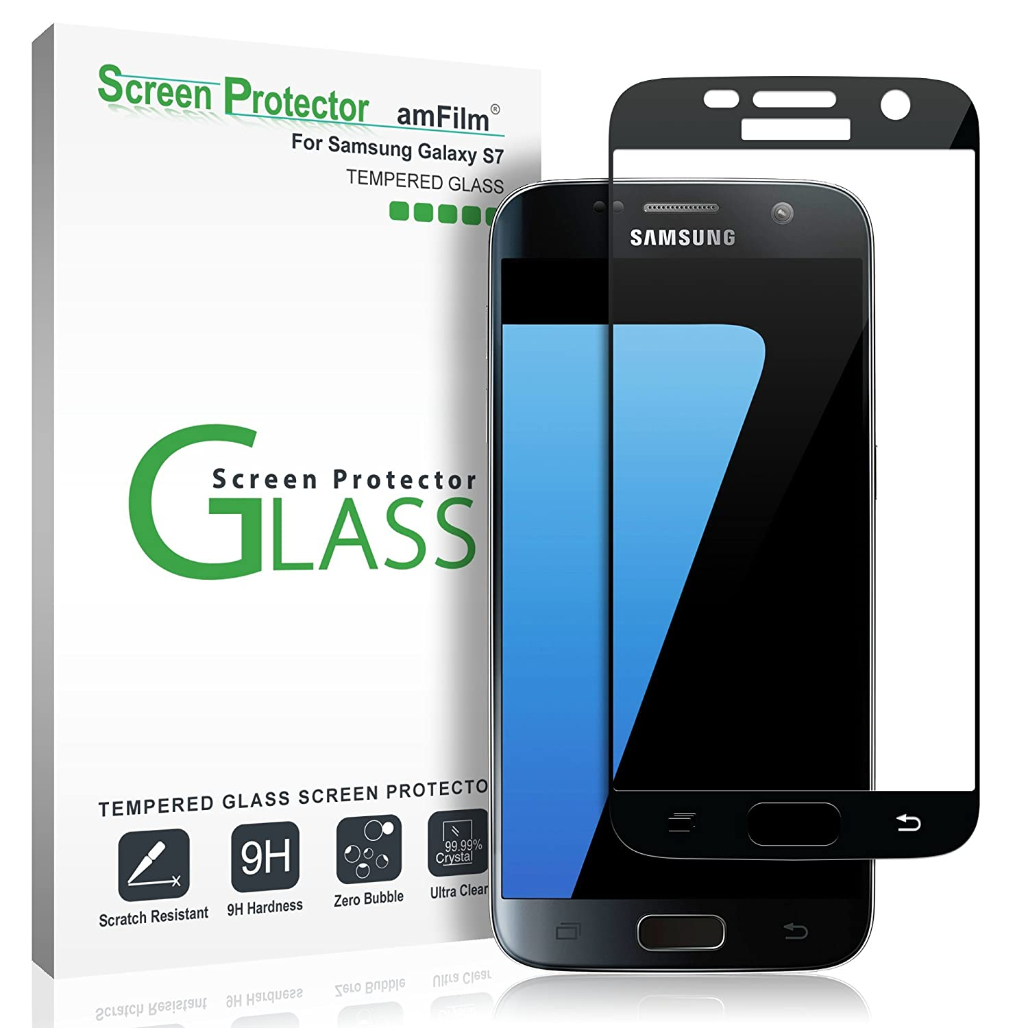 samsung galaxy s7 amfilm full cover tempered glass screen. Black Bedroom Furniture Sets. Home Design Ideas