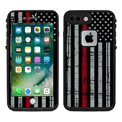 brand new fda44 9121f Protective Designer Vinyl Skin Decals/Stickers for Lifeproof Fre iPhone 7  Plus/iPhone 8 Plus Case -Thin Red Line USA Fire Fighter Flag Design Pattern  ...