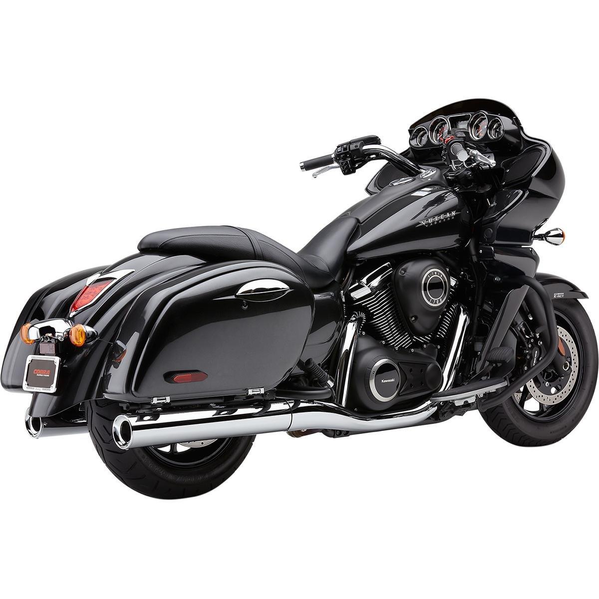 09-13 KAWASAKI VN1700A Chrome // 4 Cobra Billet Tips Slip-On Exhaust