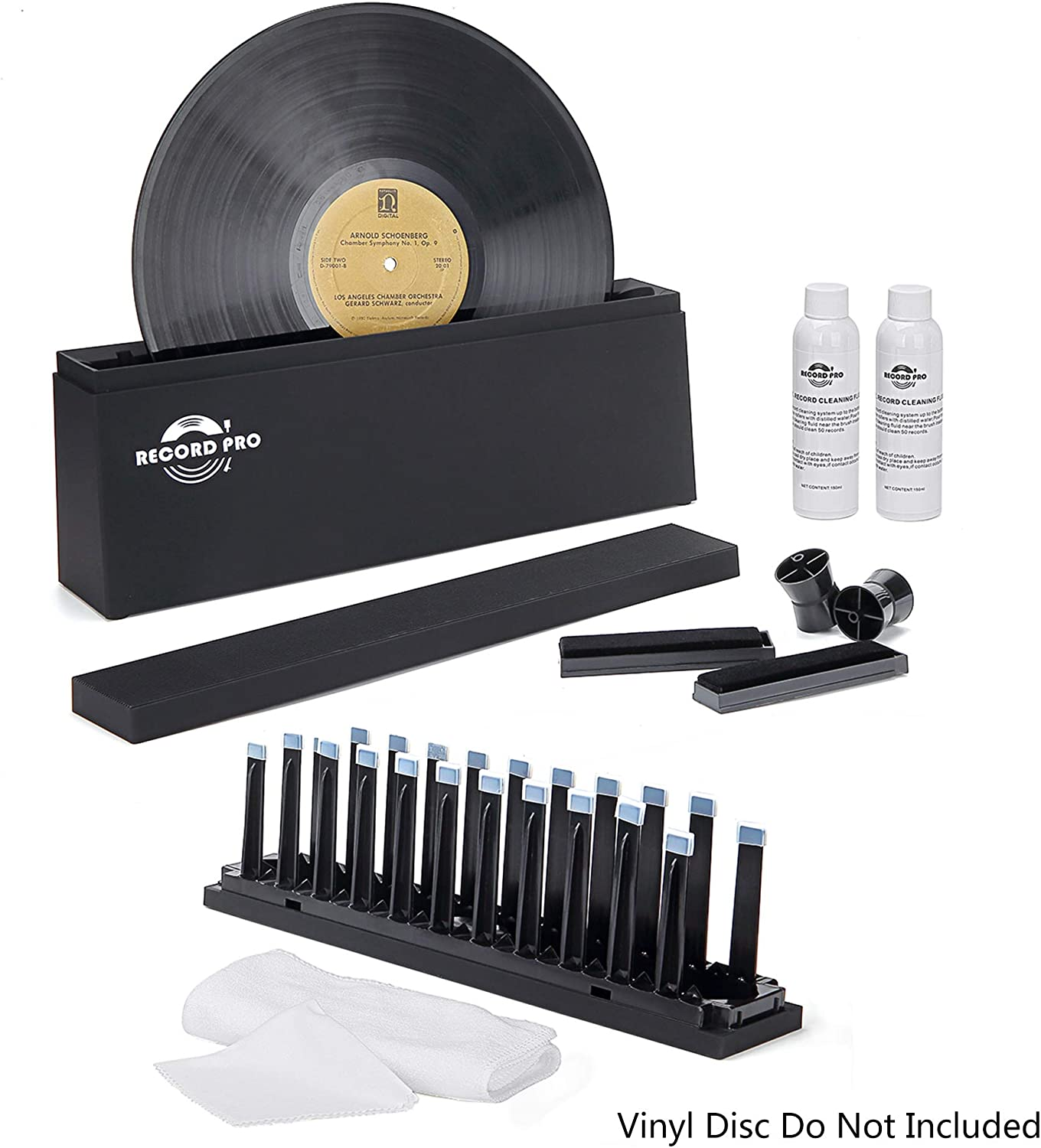 "Vinyl Record Cleaner Spin Kit System, Cleaning Fluid, Drying Rack, Brushes, and Microfiber Cloths for 7"", 10"", 12"" Vinyl Disc"