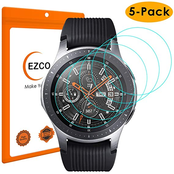 EZCO (5-Pack) Compatible Samsung Galaxy Watch 42mm 46mm Screen Protector, Waterproof Tempered Glass Screen Protector Cover Compatible Galaxy Smart ...