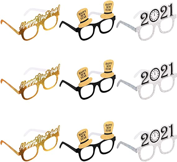 6 Pieces 2021 Eyeglasses Glitter 2021 Number Glasses and 6 Pieces Happy New Year Headbands 2021 Fun Eyewear Novelty Glasses Womens Rhinestone New Year Tiara Headband for 2021 New Year Eve Party Favor
