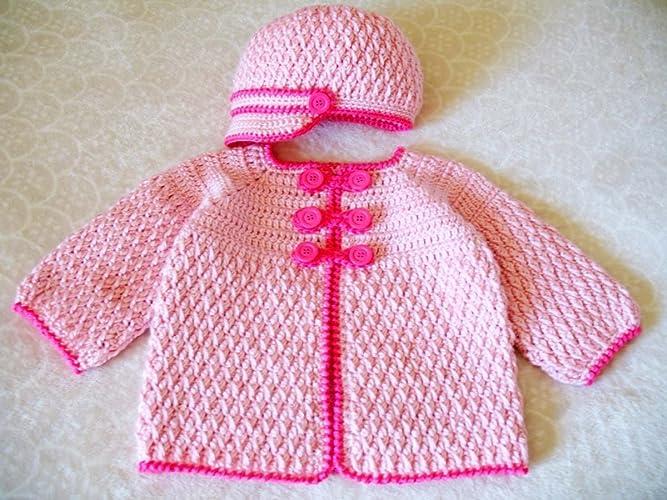 dfc401e0e570 Amazon.com  Crochet Baby Set Handmade Visor Beanie Hat and Buttoned ...