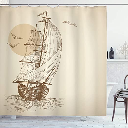 New Design High Quality sailing boat design printed on a solid background CREAM