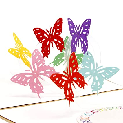 heartmoon rainbow butterfly 3d pop up greeting card with envelope laser cut handmade happy new year