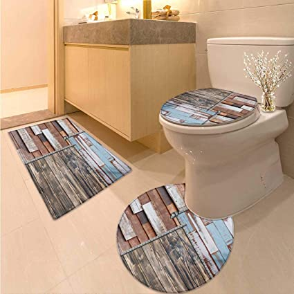 Outstanding Amazon Com Anhuthree Rustic Bathroom And Toilet Mat Set Gmtry Best Dining Table And Chair Ideas Images Gmtryco