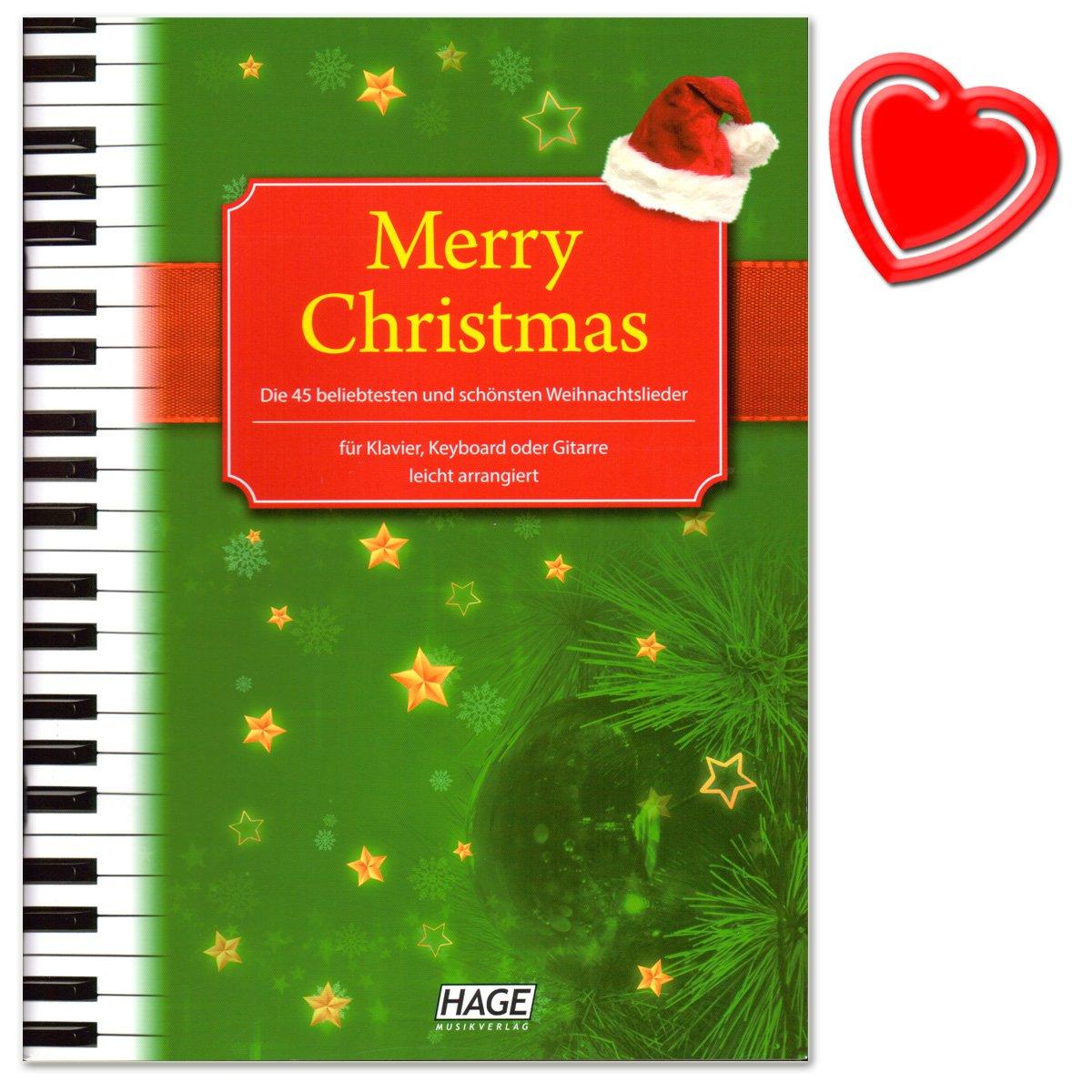 Merry Christmas - 45 beliebtesten und schönsten Weihnachtslieder für Klavier, Keyboard oder Gitarre - mit bunter herzförmiger Notenklammer - 4026929901927 HAGE