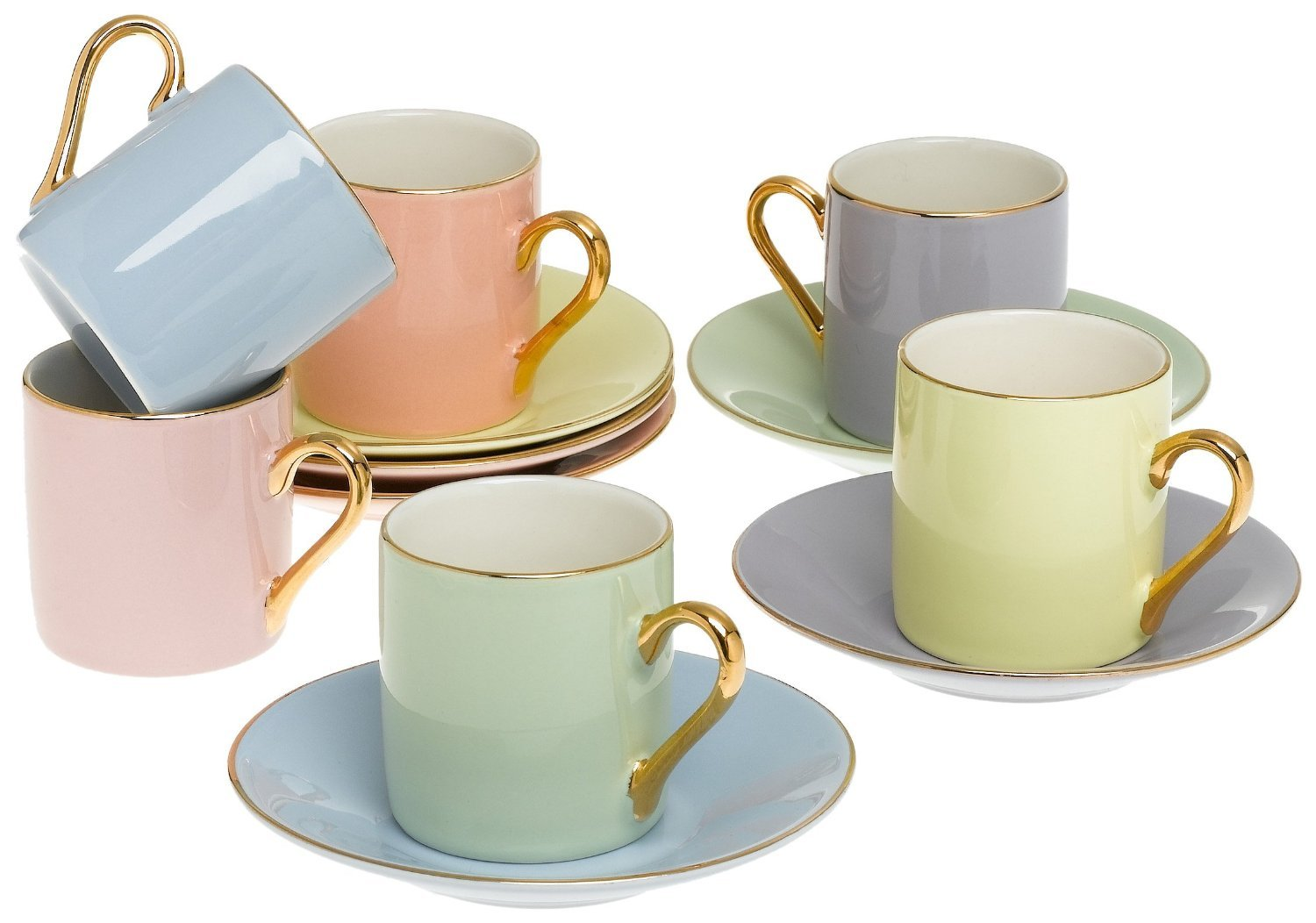 Classic Espresso Coffee Cups & Saucers (Set of 6) by Yedi Houseware Premium Porcelain In Stylish, Pastel Colors with Gold Plated Rims & Handles for an Authentic, Italian Café Feel 2 ½ oz