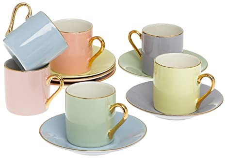 Amazon.com | Classic Espresso Coffee Cups & Saucers (Set of 6) by ...