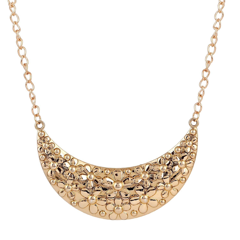 D EXCEED Summer Bib Gold Crescent Hammered Pendant Necklace Flower Statement Jewelryfor Women 18''